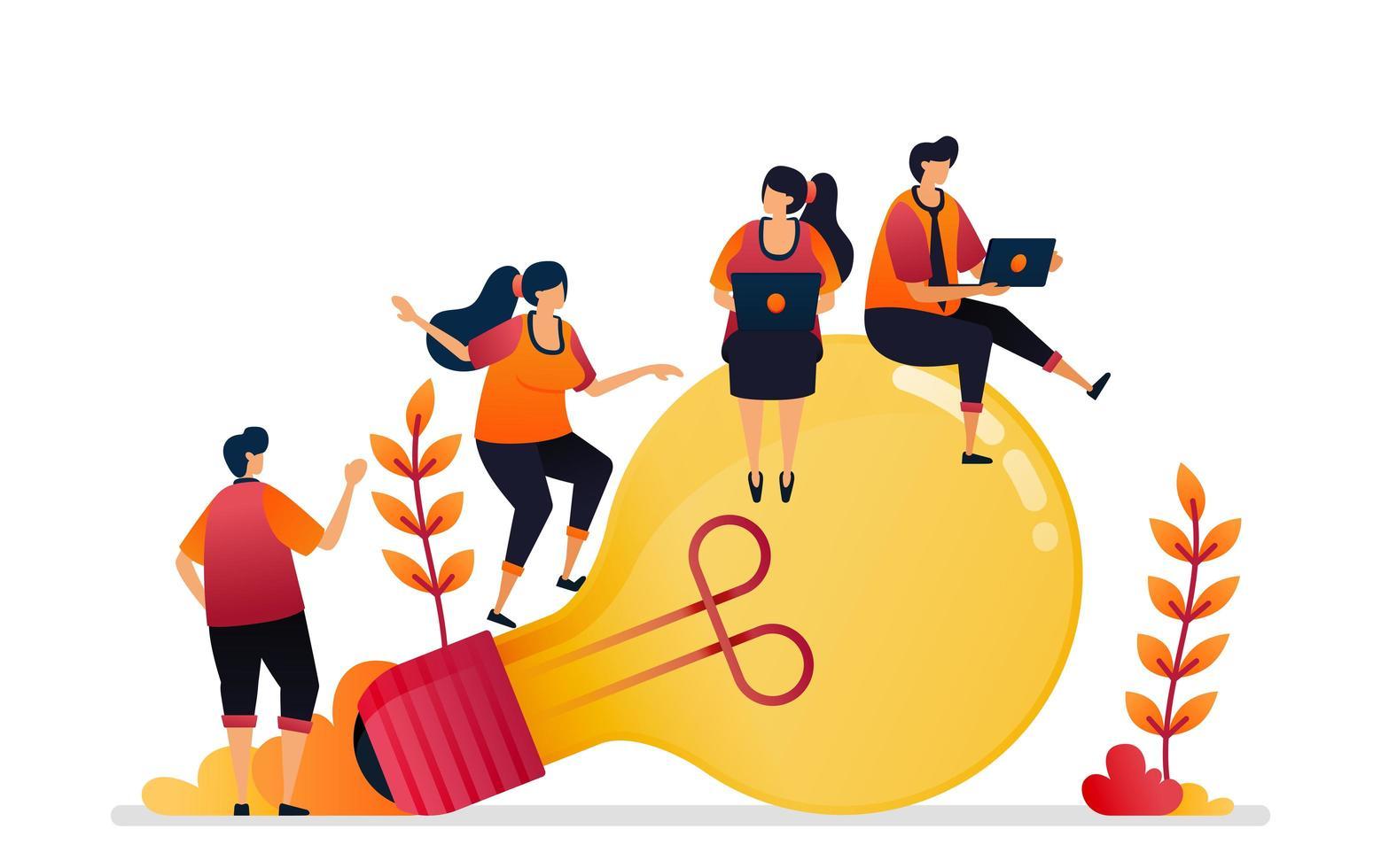 ilustración vectorial de idea e inspiración, buscando resolución de problemas con lluvia de ideas y conocimiento. diseño gráfico para página de destino, web, sitio web, aplicaciones móviles, banner, plantilla, póster, volante vector