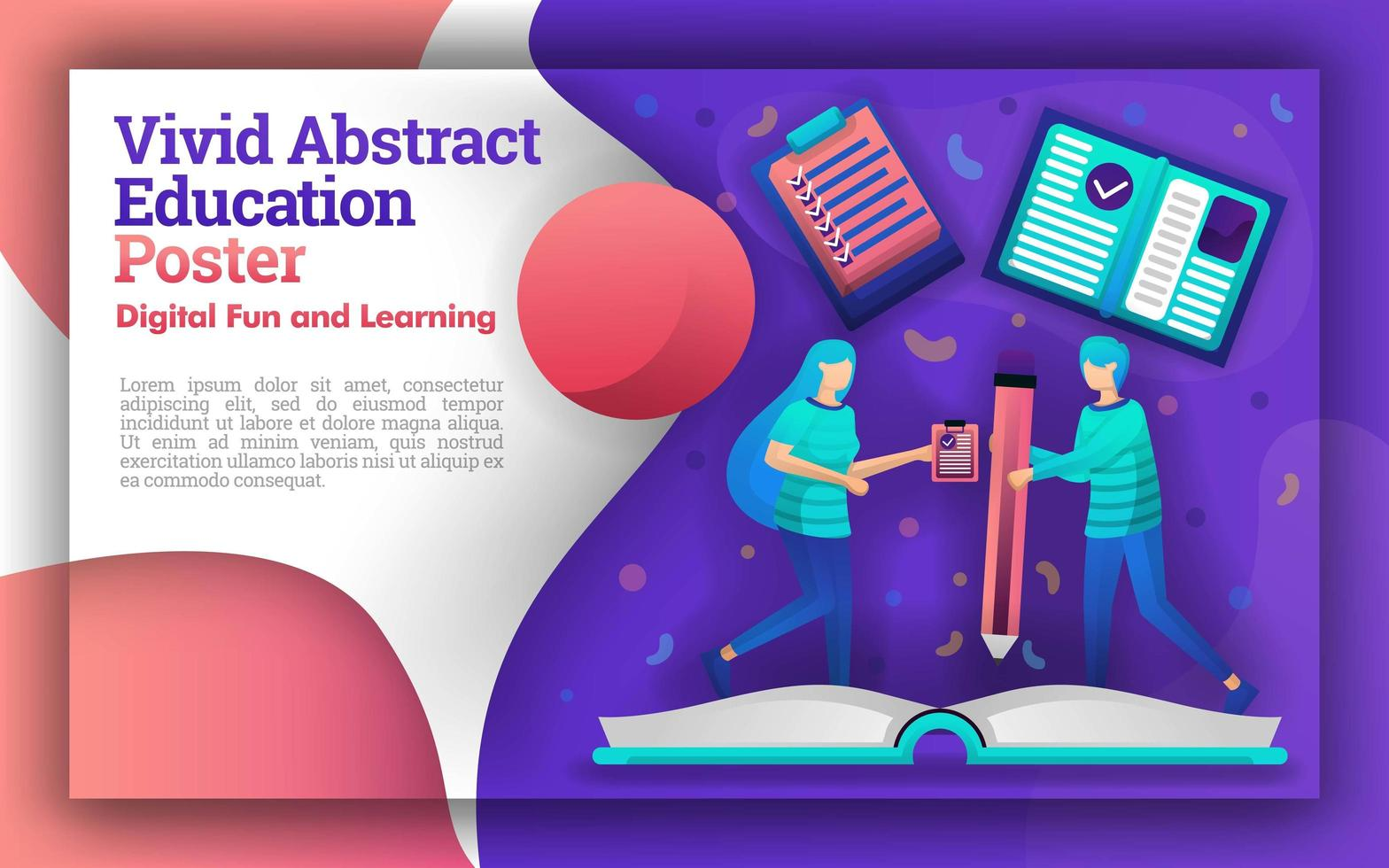 Illustration of vivid abstracts with the theme of education. the student who was writing on a giant book. can be for posters and websites. new learning method for students and easier for teachers vector