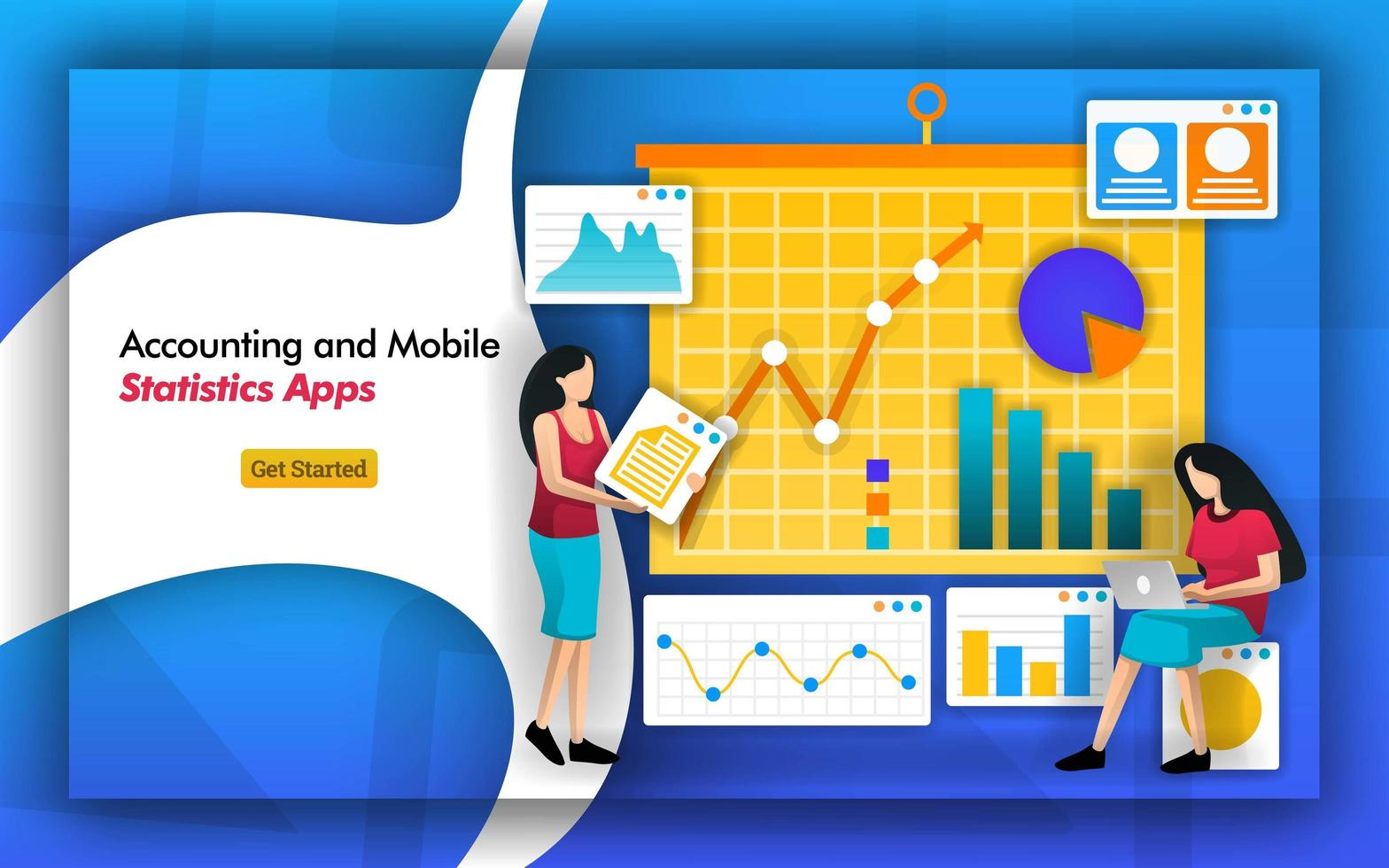 accountant need statistics for bookkeeping. accounting firms have mobile statistics apps to manage data from a company. analysis includes tax, payroll, finance, income and data flow. Flat vector style