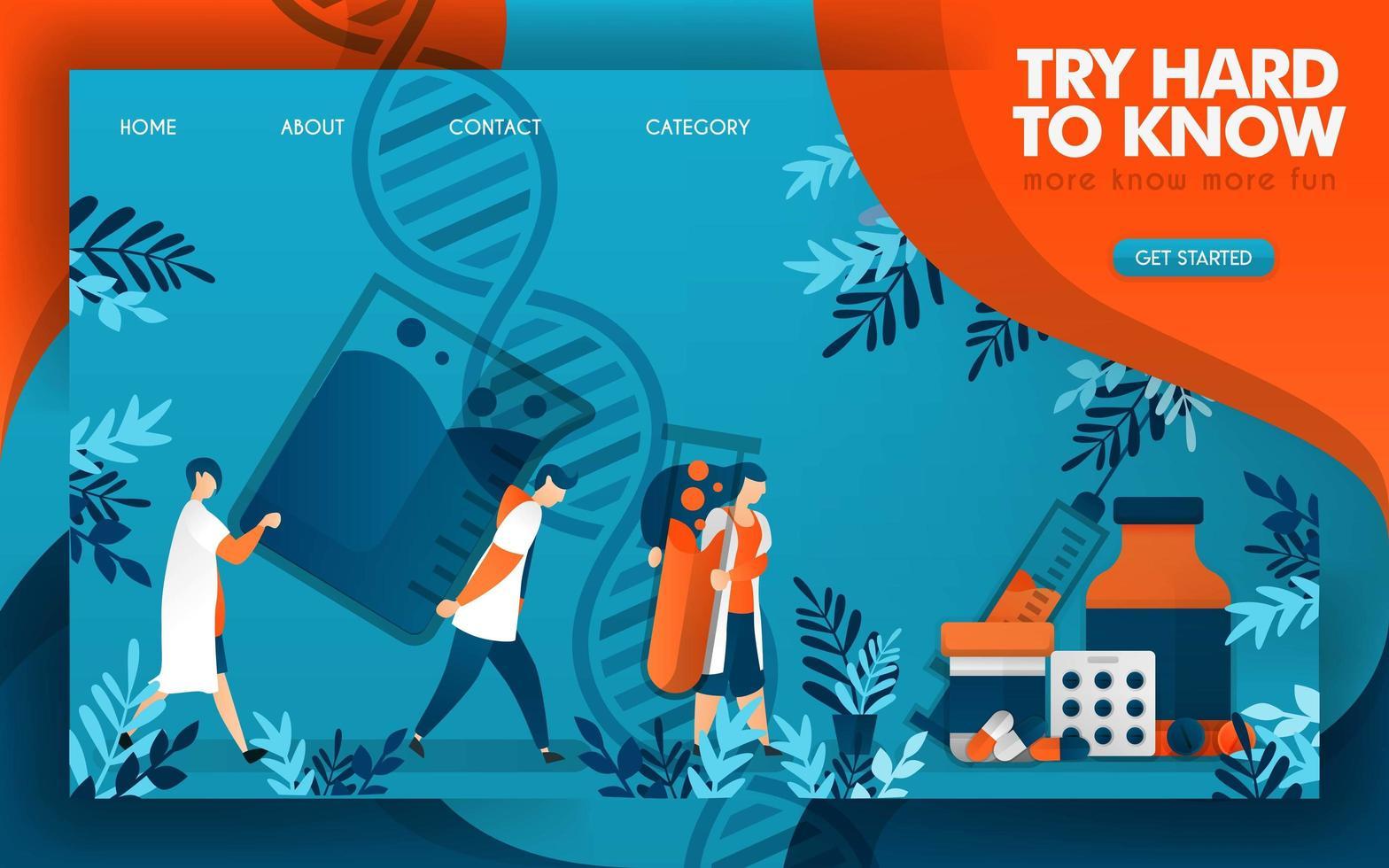 los médicos trabajan duro para conocer la ciencia de la buena medicina. ilustración vectorial de dibujos animados plana vector
