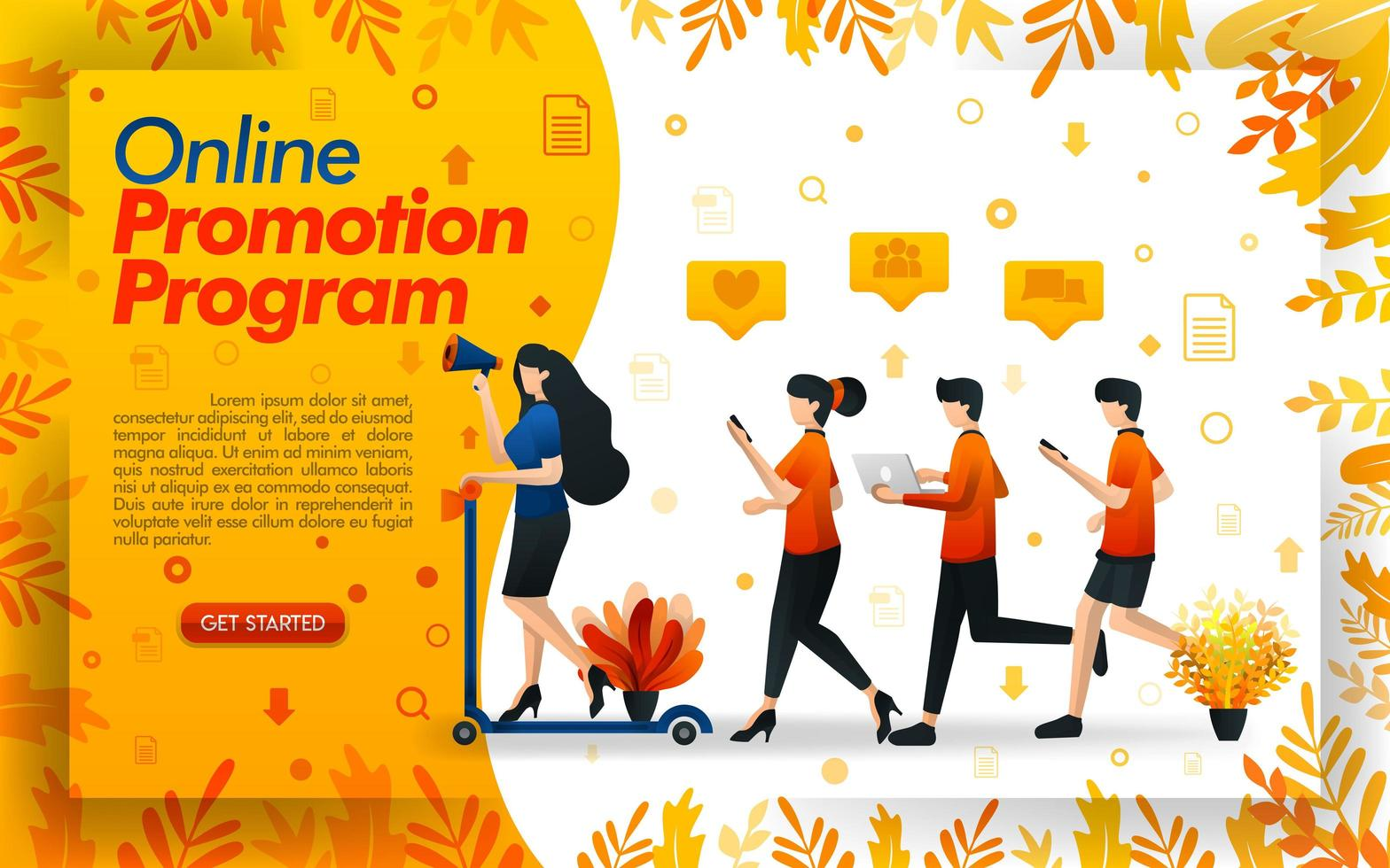 People running to reach sales targets, women who ride a scooter to make a promotion program a success, refer a friend concept, concept vector ilustration. can use for ui, mobile app, poster, banner