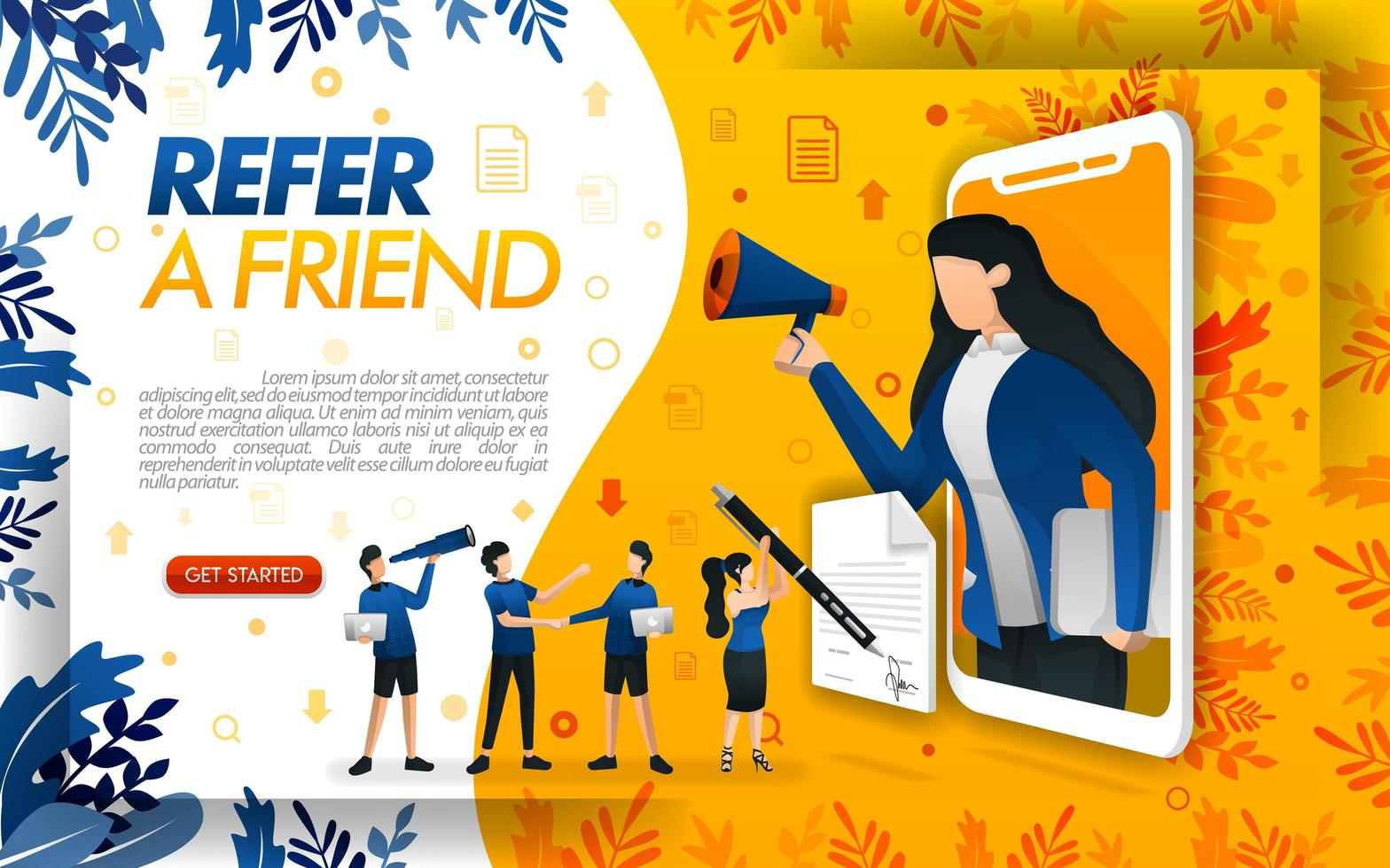 Woman came out of the smartphone and held the megaphone while shouting, for the concept of refer a frined. concept vector ilustration. can use for, page, ui, web, mobile app, poster, banner, flayer