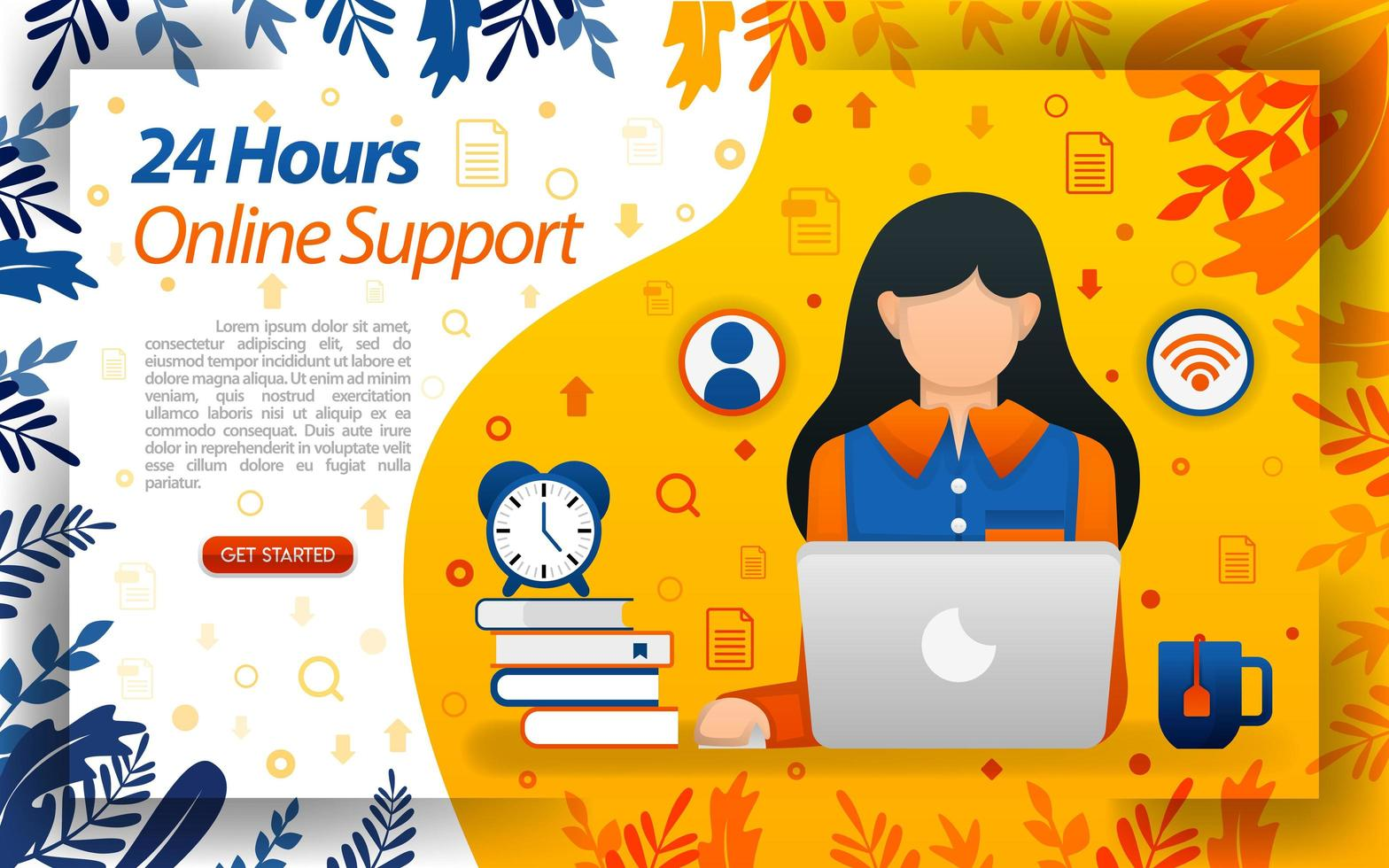 24 hours customer service. online hotlink. online service to help customers, concept vector ilustration. can use for, landing page, template, ui, web, mobile app, poster, banner, flayer