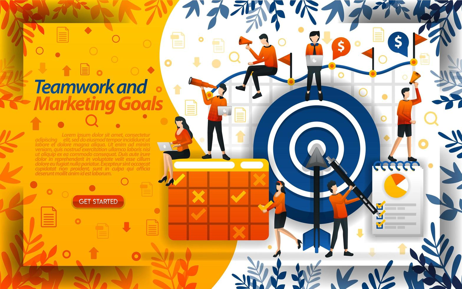 Teamwork to achieve marketing goals. increase sales and determine future goals, concept vector ilustration. can use for landing page, template, ui, web, mobile app, poster, banner, flyer, document