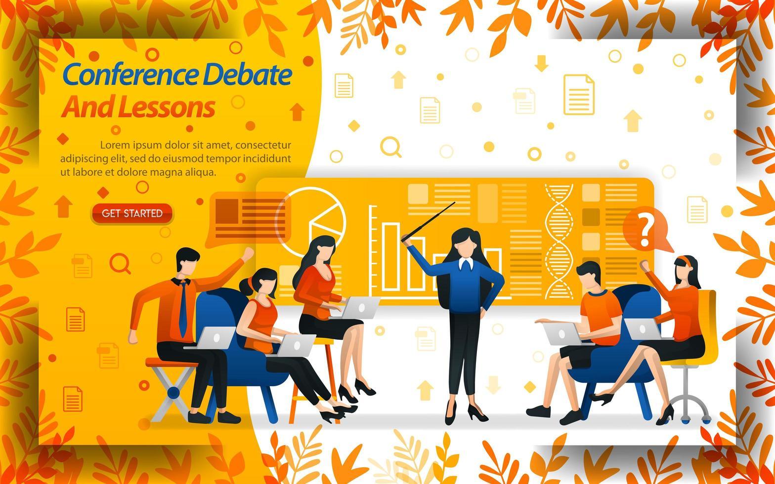 conferencias debate y lecciones. las mujeres que enseñan negocios y los estudiantes están debatiendo, ilustración de vector de concepto. se puede utilizar para la página de destino, plantilla, interfaz de usuario, web, aplicación móvil, póster, banner, folleto, sitio web