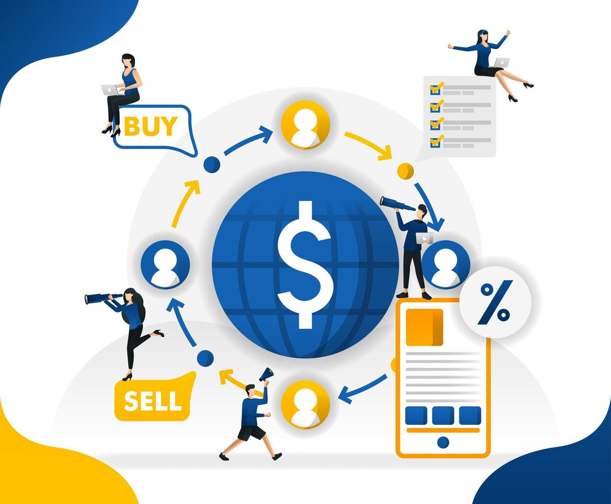 Money circulation and trade in the world. transfer and send currencies from anywhere, concept vector illustration. can use for landing page, template, ui, web, mobile app, poster, banner, background