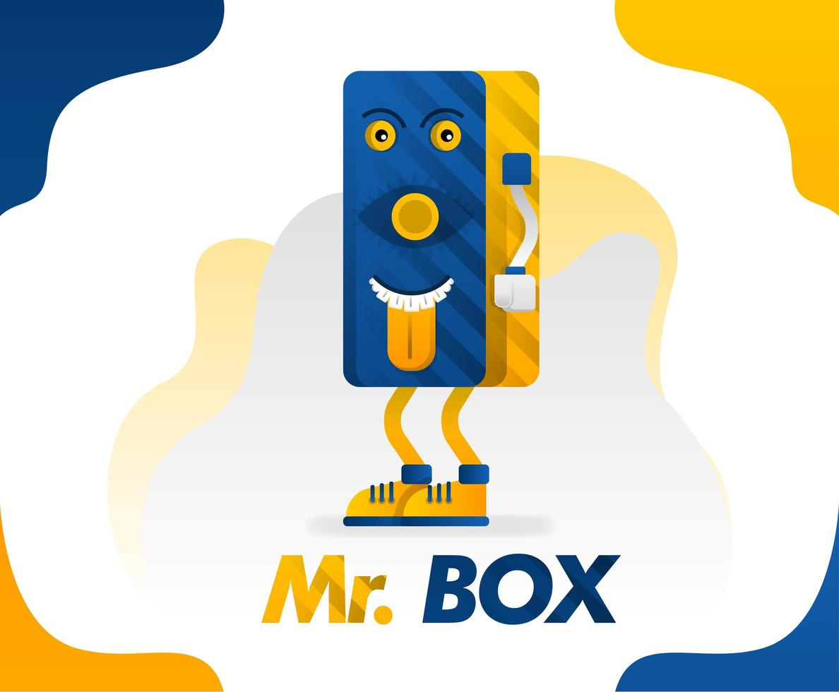Mr box, a box monster with sticking out a tongue in a simple style for kids because it's funny, concept vector illustration. can be for mugs, shirts, cups, posters, clothes ,stationery, school item