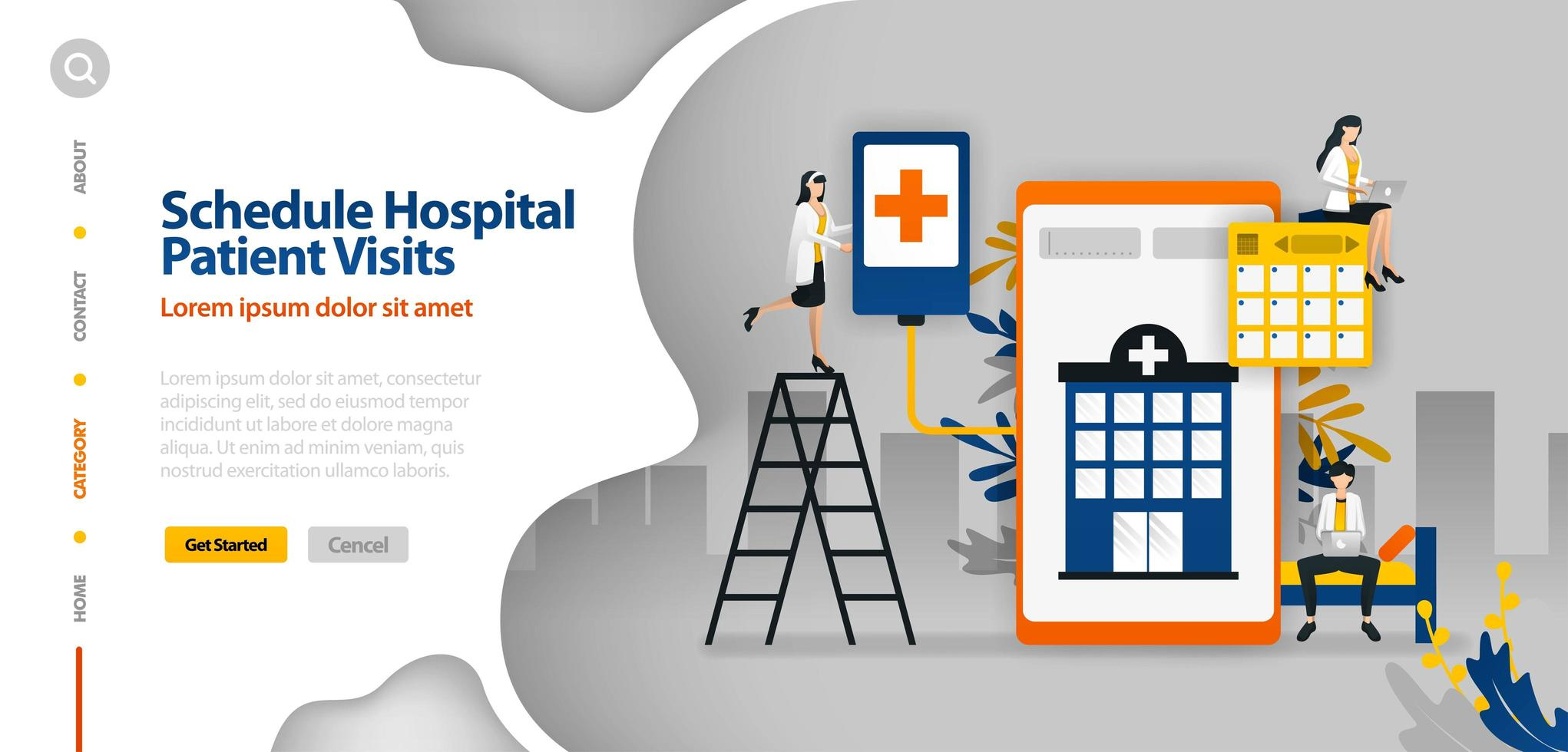 Hospital Patient Visits Schedule, hospital scheduling, hospital planning application. Vector illustration concept can be use for landing page, template, ui ux, web, mobile app, poster, banner, website