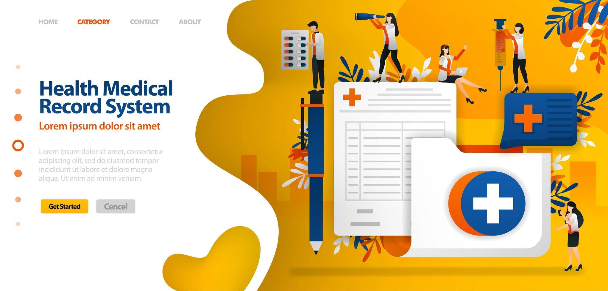 Health medical Record System. folder with cross symbol and registration form. vector illustration concept can be use for landing page, template, ui ux, web, mobile app, poster, banner, website