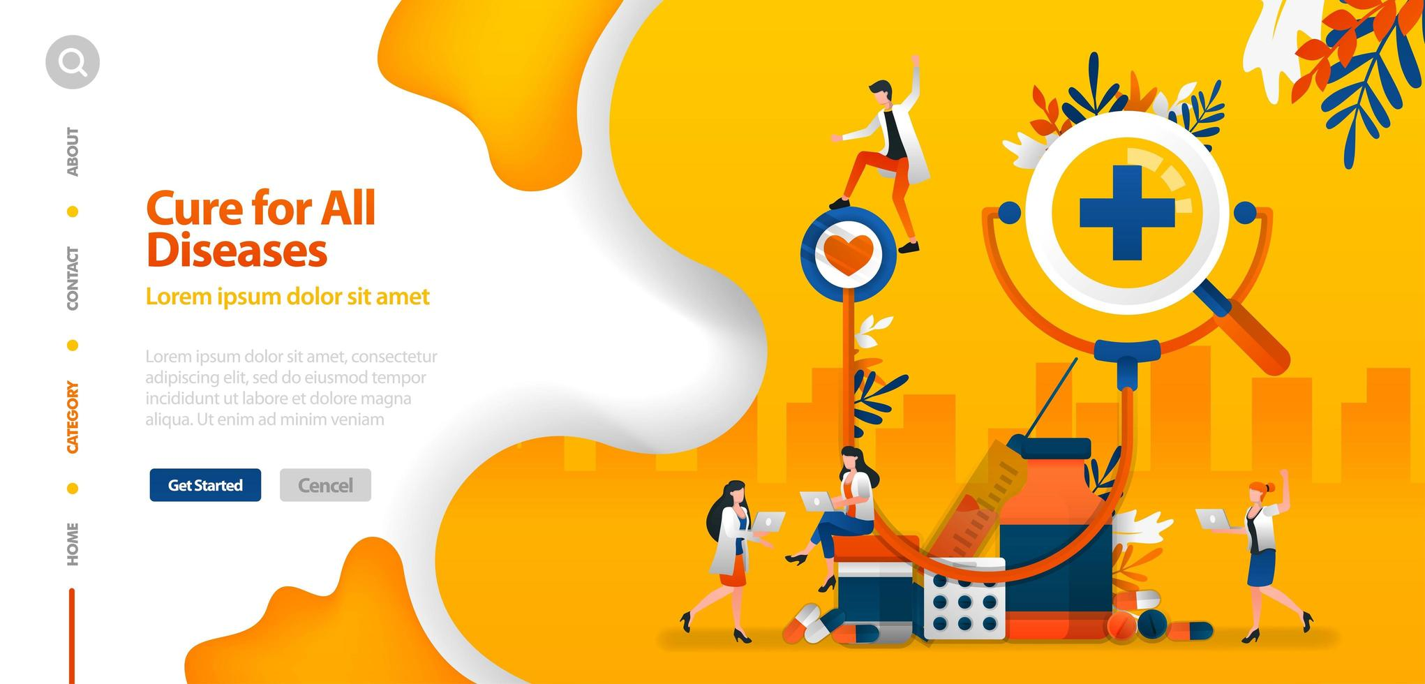 Doctor is cure for all Diseases. giant stethoscope with drugs vector illustration concept can be use for landing page, template, ui ux, web, mobile app, poster, banner, website