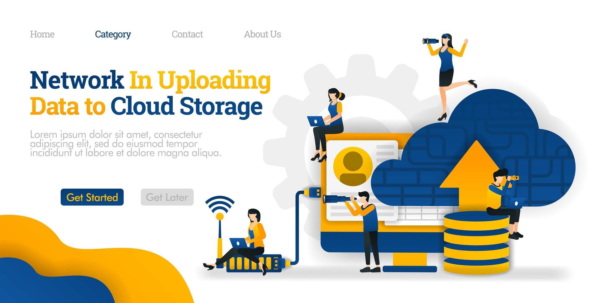 red en la carga de datos al almacenamiento en la nube. cargar datos de la base de datos en la nube para compartirlos. concepto de ilustración plana vectorial, se puede utilizar para, página de destino, plantilla, web, página de inicio, póster, pancarta, folleto vector