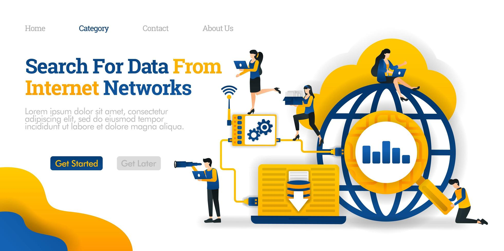 Search For Data From Internet Network. analyze data search results to save to database. Vector flat illustration concept, can use for, landing page, template, ui, web, homepage, poster, banner, flyer