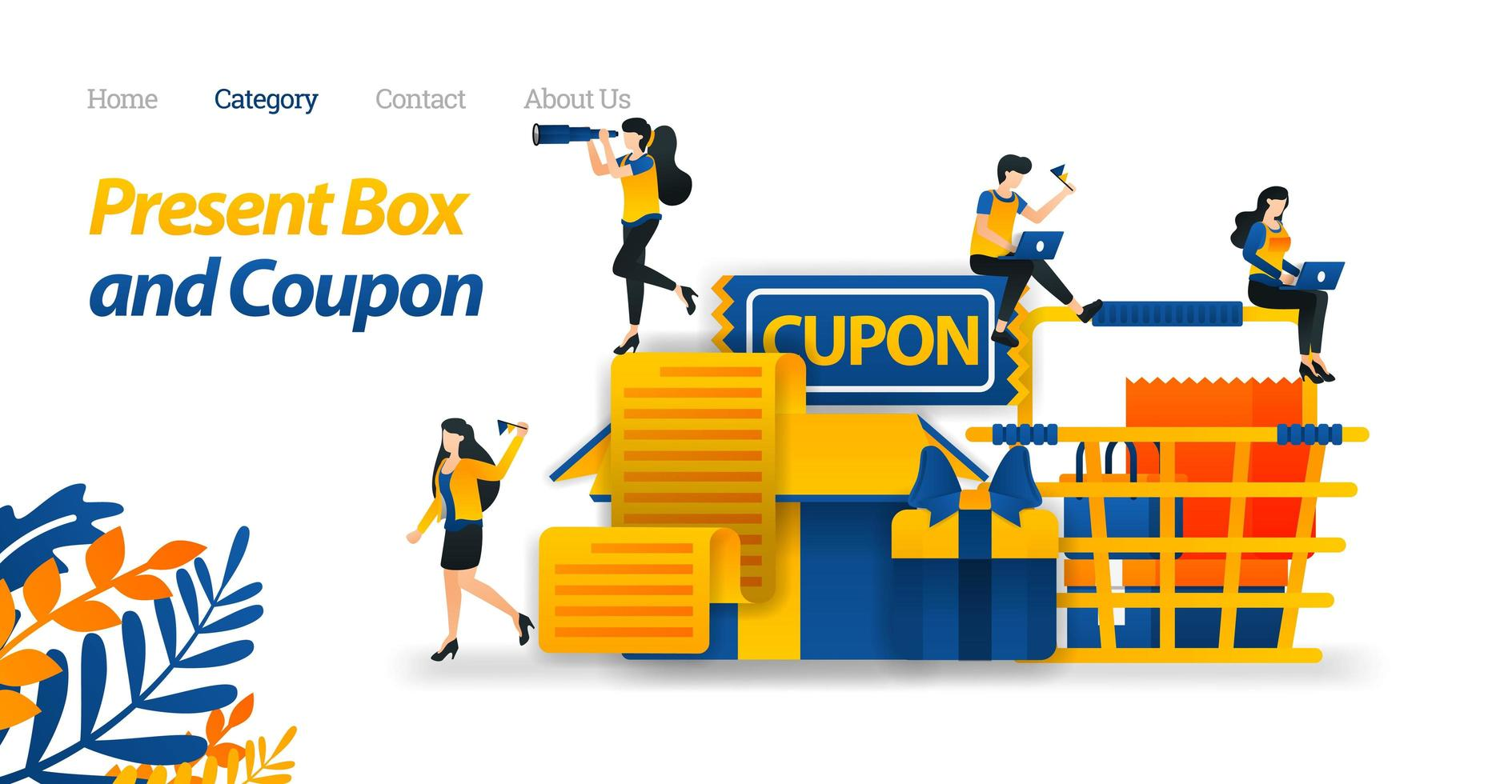 Present Box Designs With Various Accessories, Gift Coupons and Shopping cart. Vector Illustration, Flat Icon Style Suitable for Web Landing Page, Banner, Flyer, Sticker, Wallpaper, Card, Background
