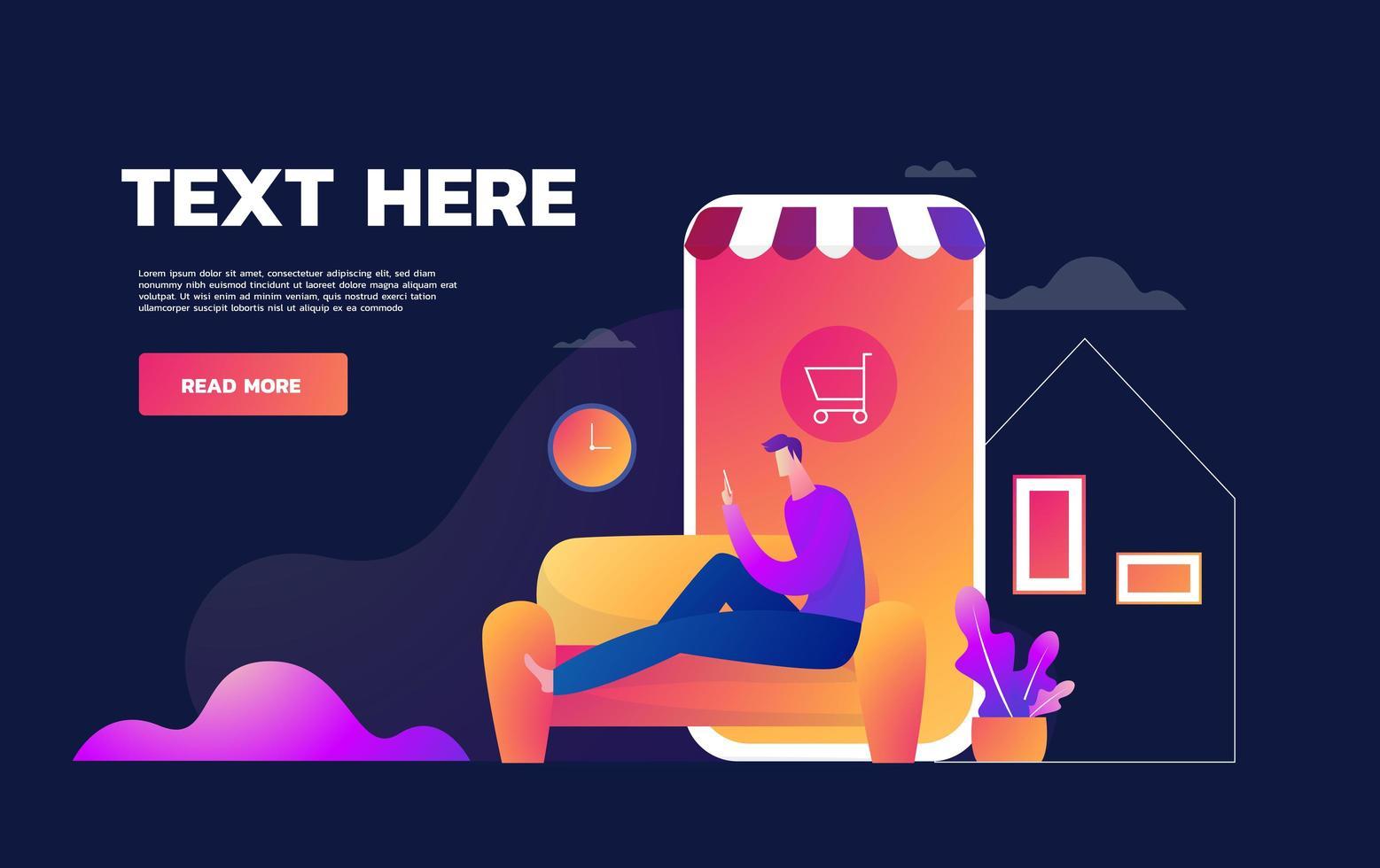 Coronavirus Epidemic Quarantine. Young Man Shopd Online. Consumerism on Smartphone Mobile App. Buy at Home. Survive COVID 19. Flat vector illustration