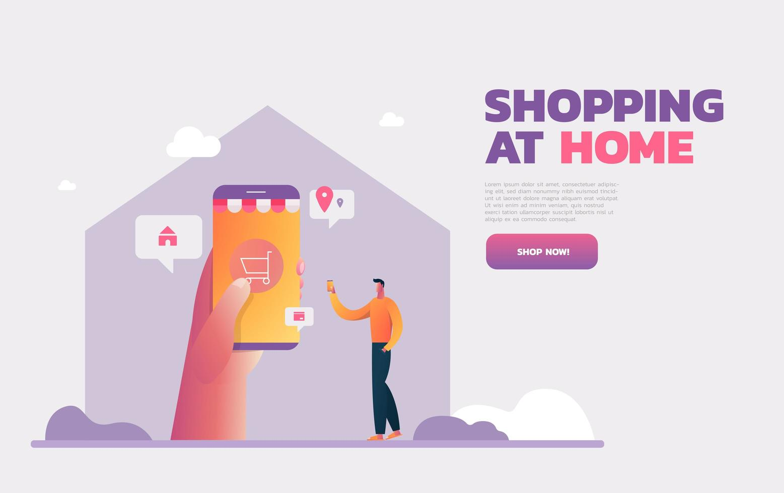 Coronavirus Epidemic Quarantine Isolation. Man Shops Online with Smartphone. Buy at Home, Receive Parcel. Survive COVID 19. Flat Vector Illustration