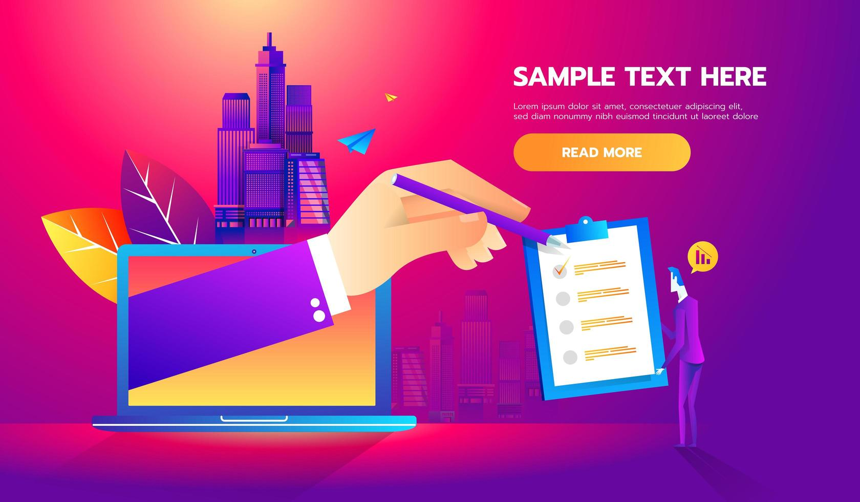 Business man partnership beginning. Partners online signing contract agreement closing deal. Modern flat style thin line vector illustration.