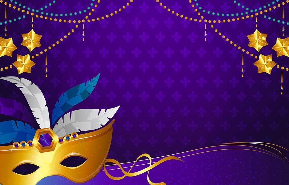 Mardi Gras Background with Feather Mask vector