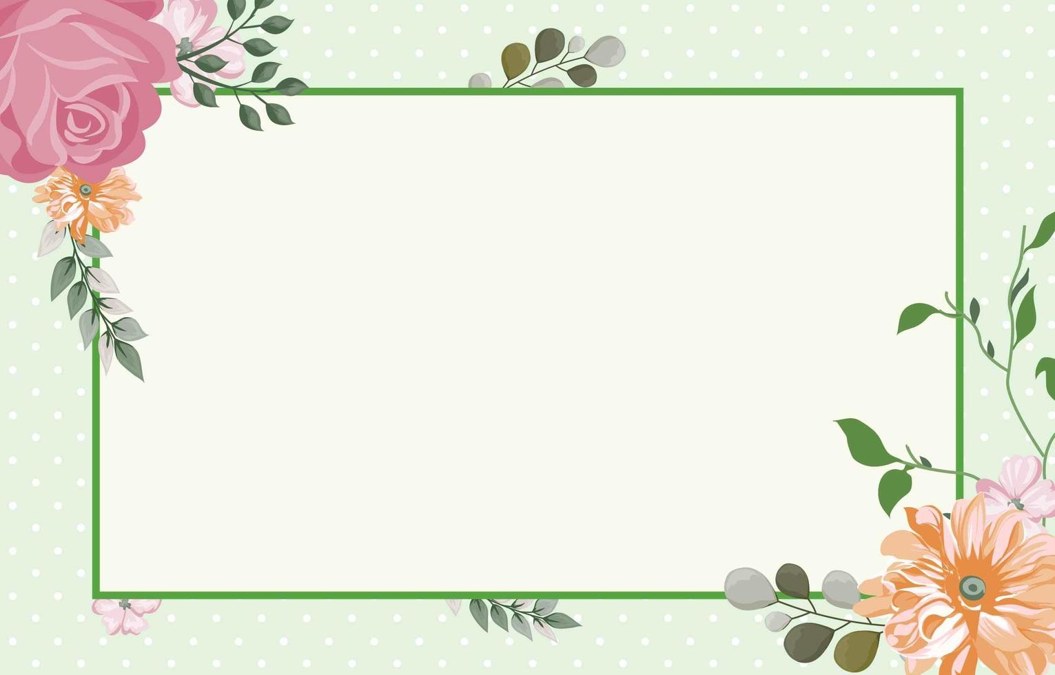 Green flower Background with Green Border vector