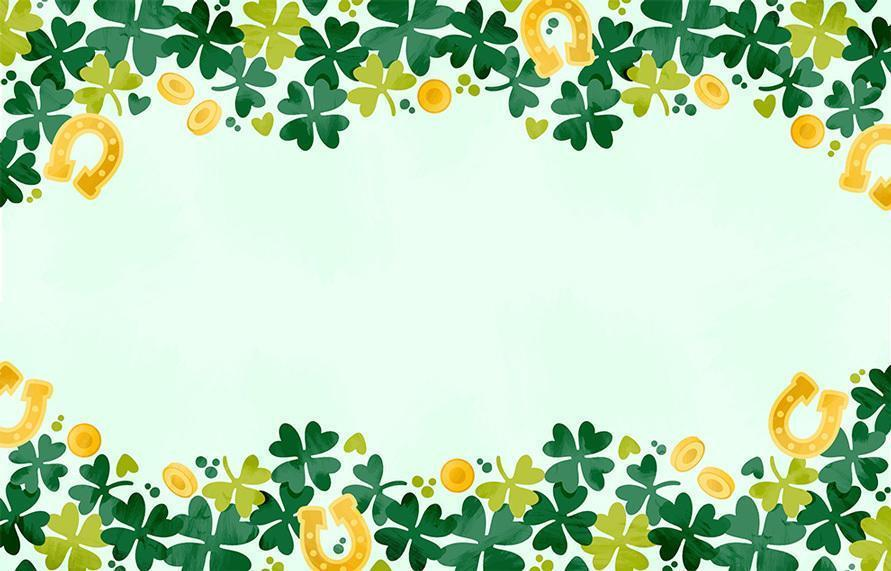 Watercolor Lucky Clovers Background vector