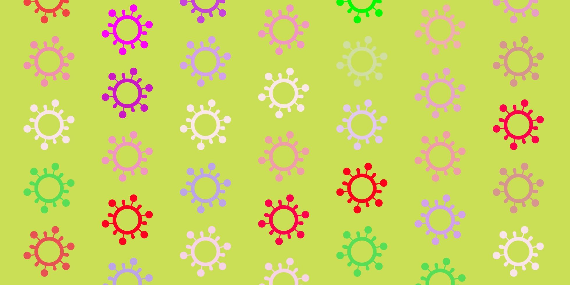 patrón de vector rosa claro, verde con elementos de coronavirus.