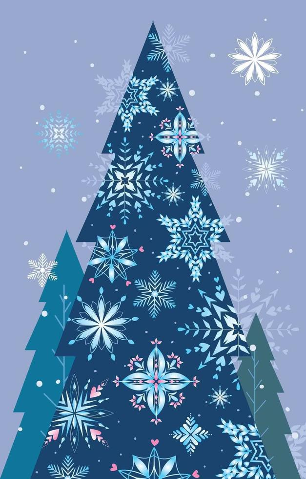 Snowflake with a Christmas Tree Silhouette vector