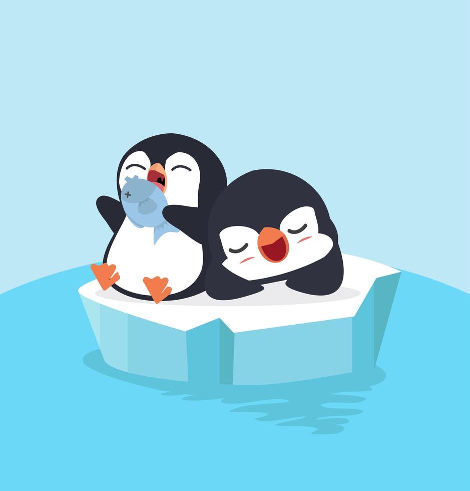 lindos pingüinos escalofriantes vector