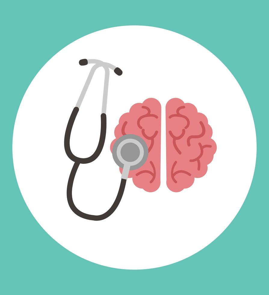 cerebro humano, con, estetoscopio, icono vector