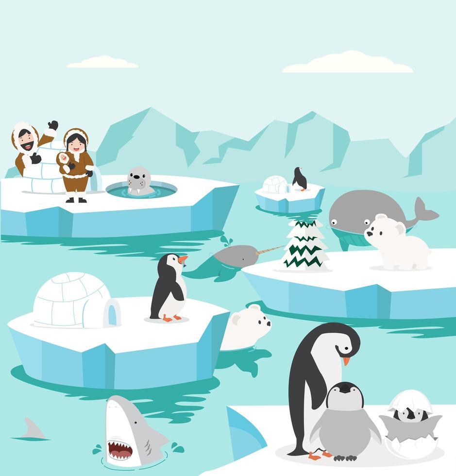 Fondo de paisaje del polo norte con animales de dibujos animados vector
