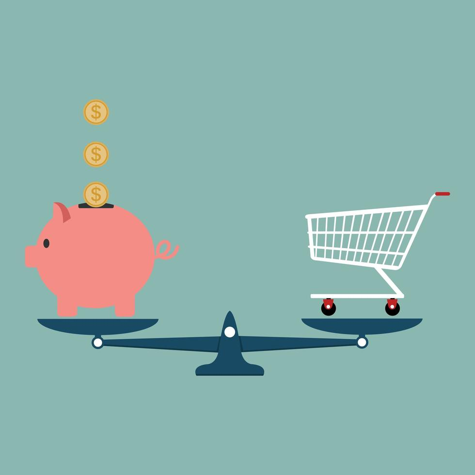 Piggy bank with shopping cart on a weighing scale vector