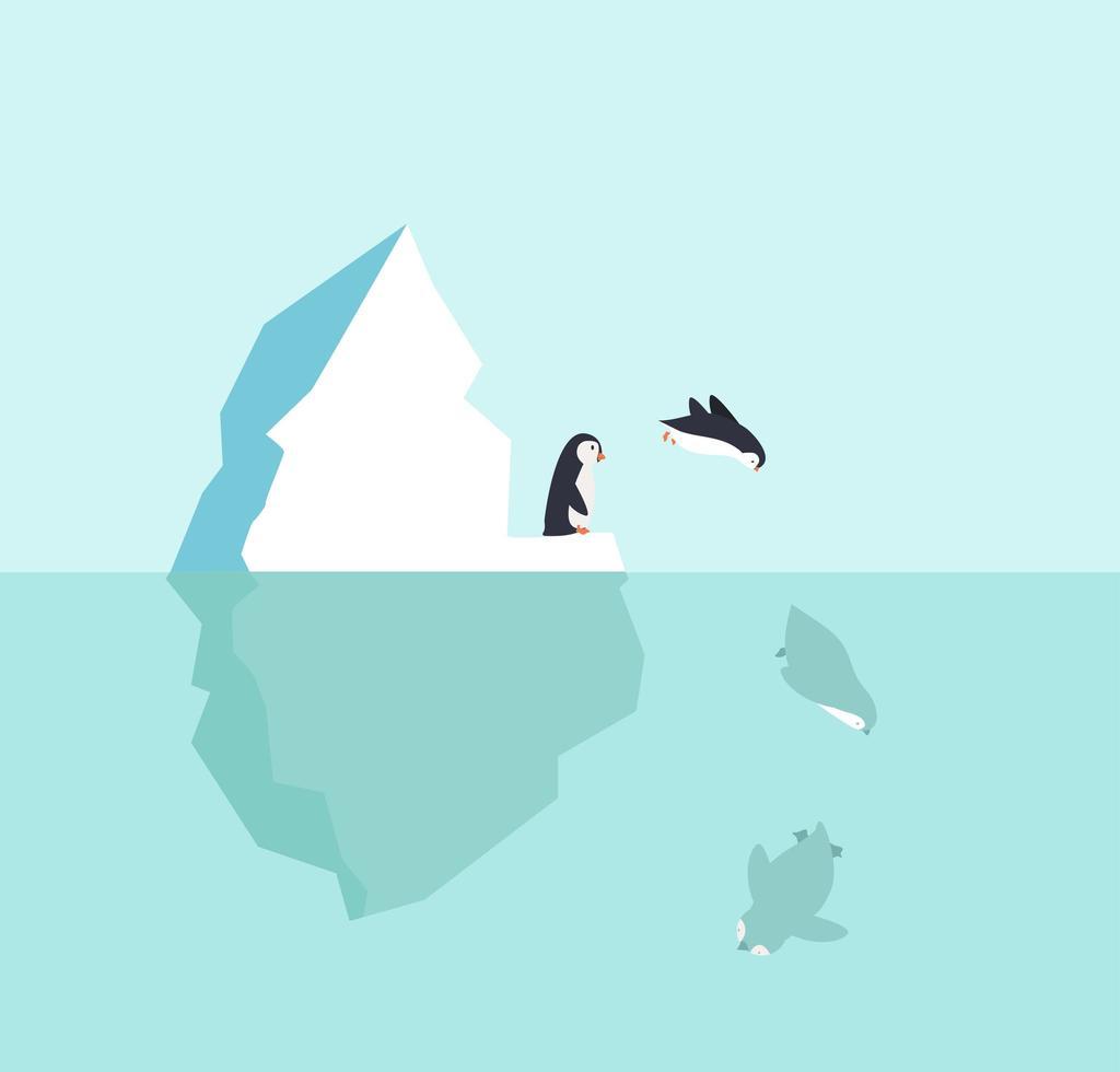 pingüino saltar en el agua desde un iceberg vector