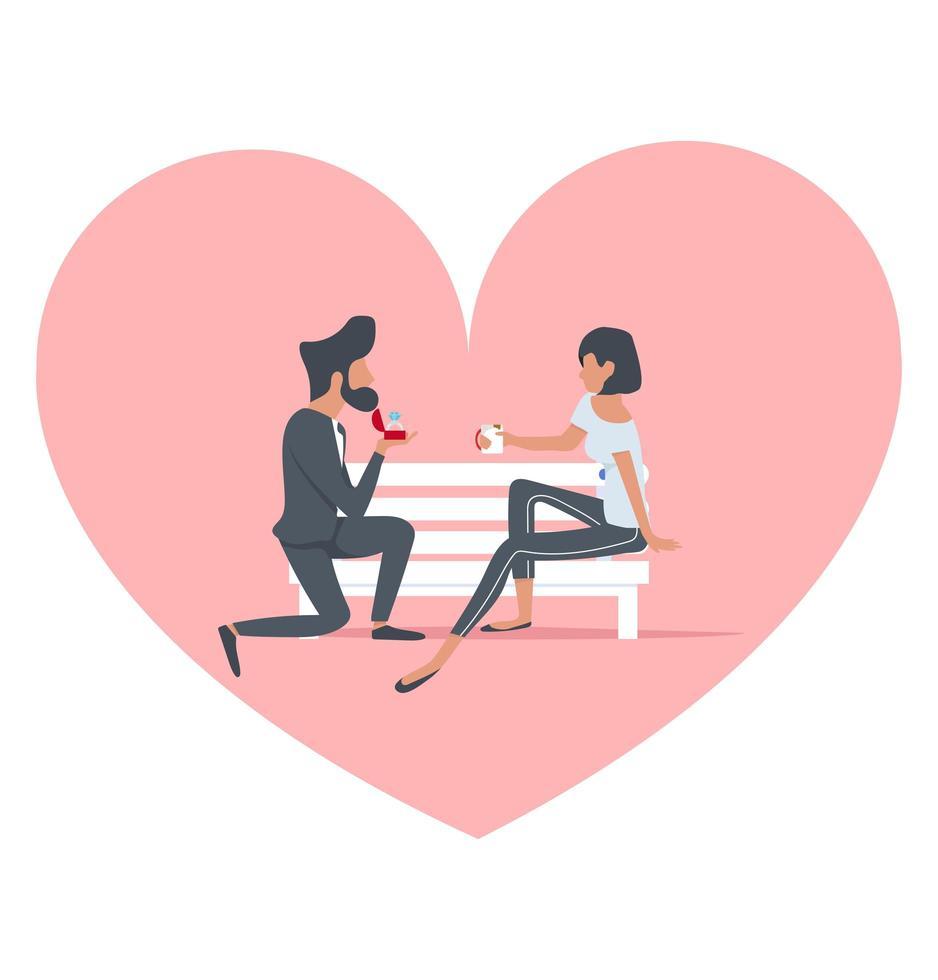 hombre proponiendo a una mujer en un banco vector