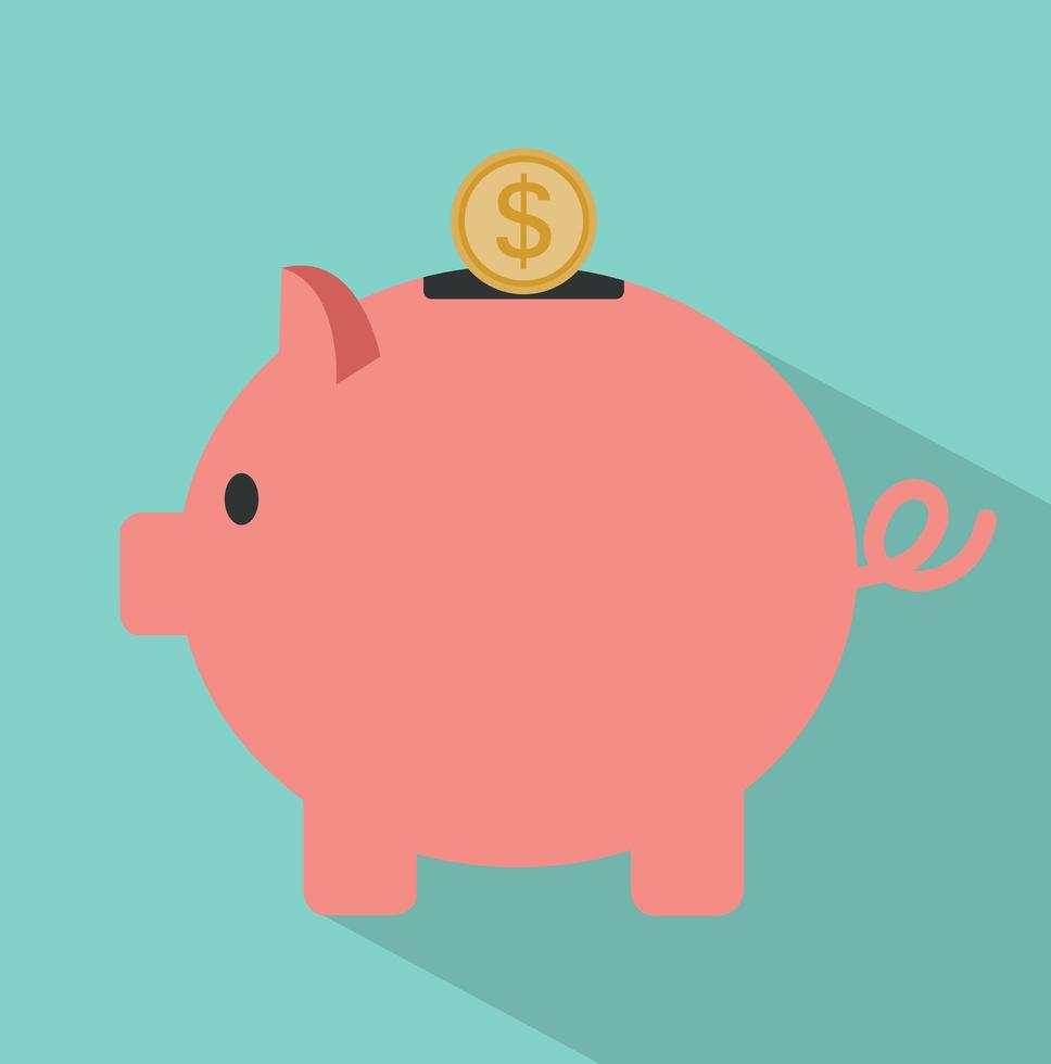 Piggy Bank and coin with long shadow vector