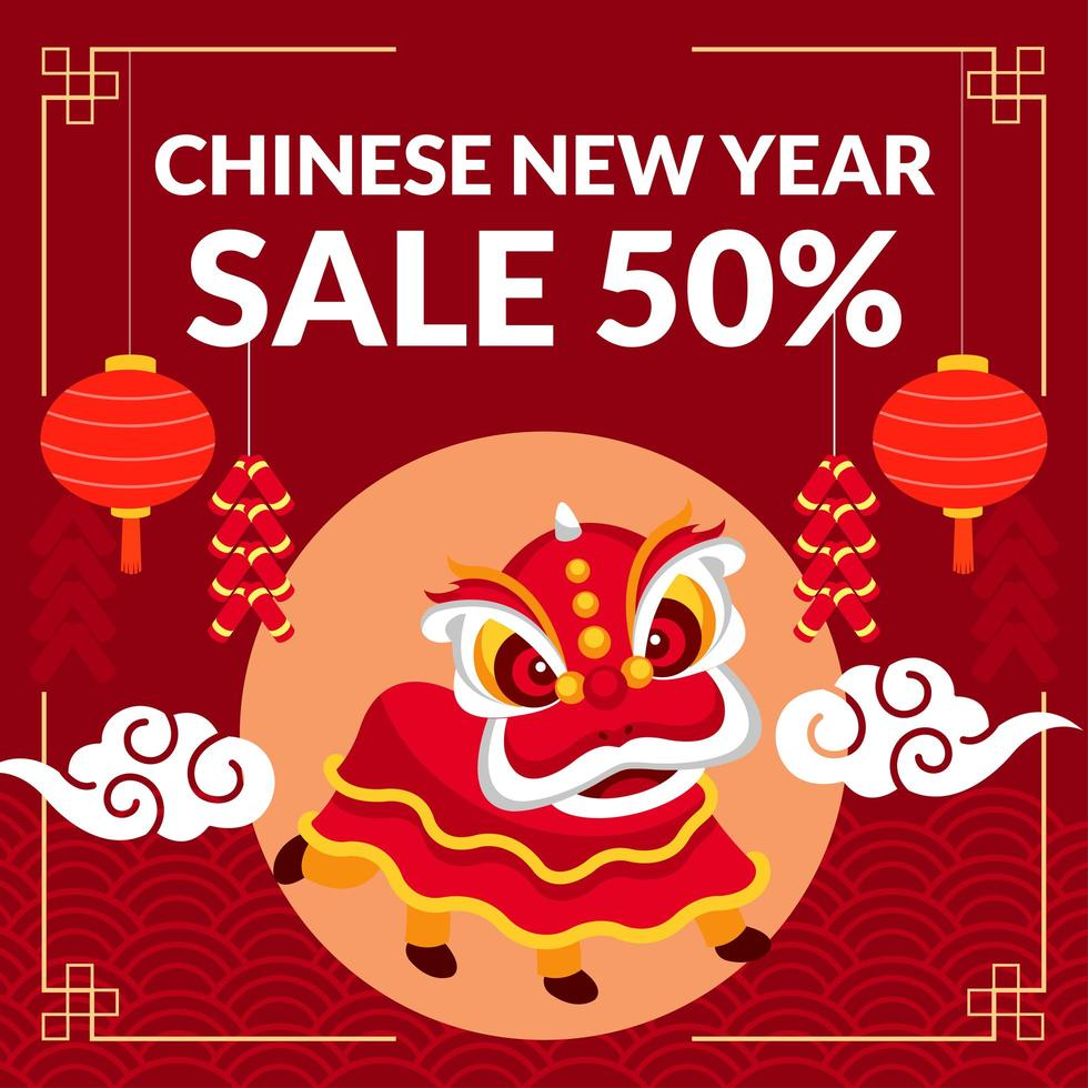CNY Theme With Lion Dance Lantern and Clouds vector