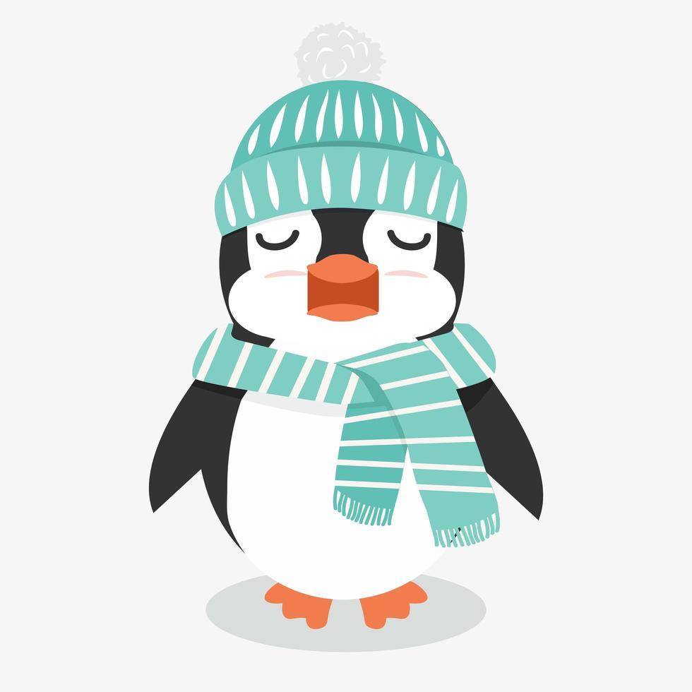 pingüino en accesorios de invierno vector