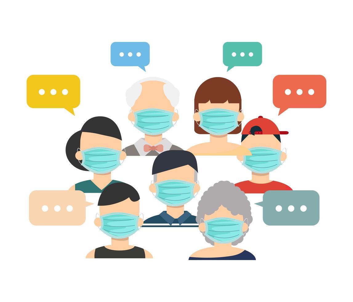 personas que usan máscaras médicas con burbujas de discurso vector
