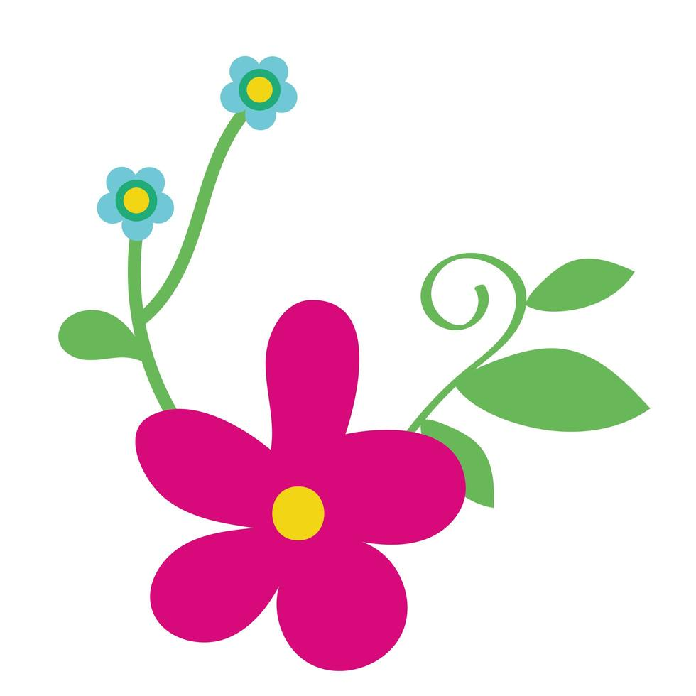 beautiful flowers and leaves garden decorative icon vector