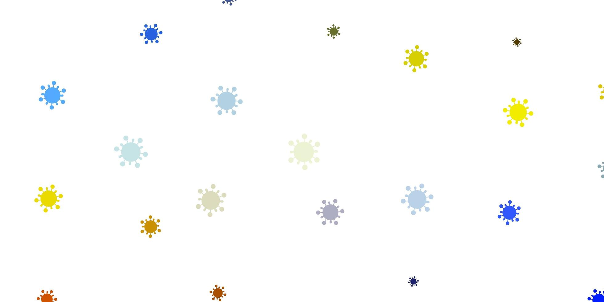 Light blue, yellow vector background with covid-19 symbols.