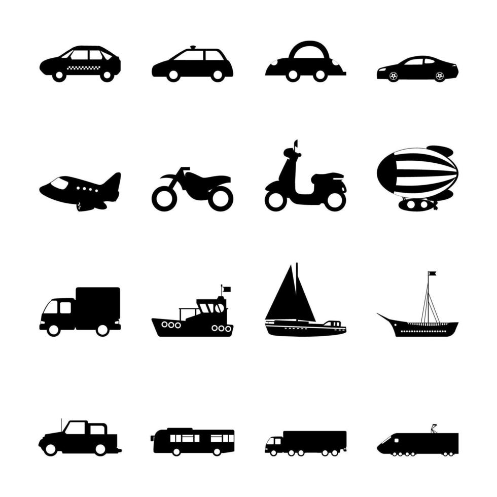 transporte simple conjunto de iconos vector