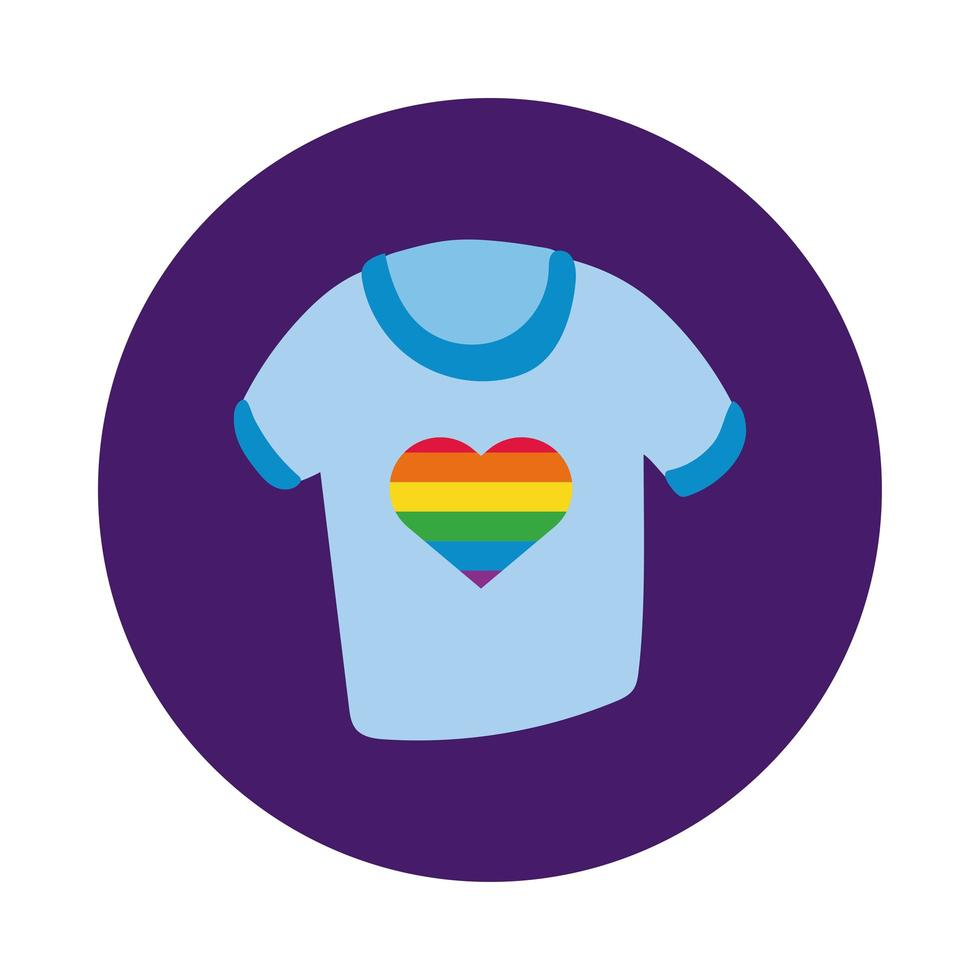 shirt with rainbow heart for gay pride block style vector