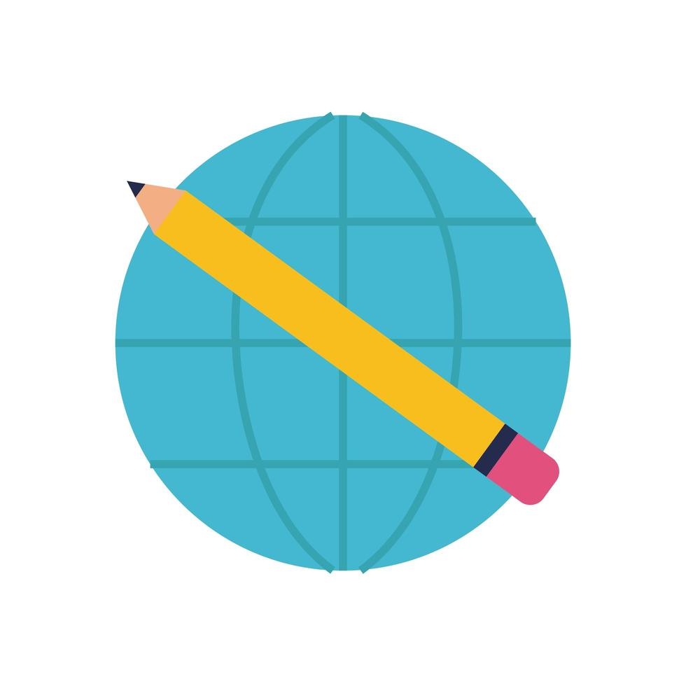 planeta mundial con estilo plano lápiz vector