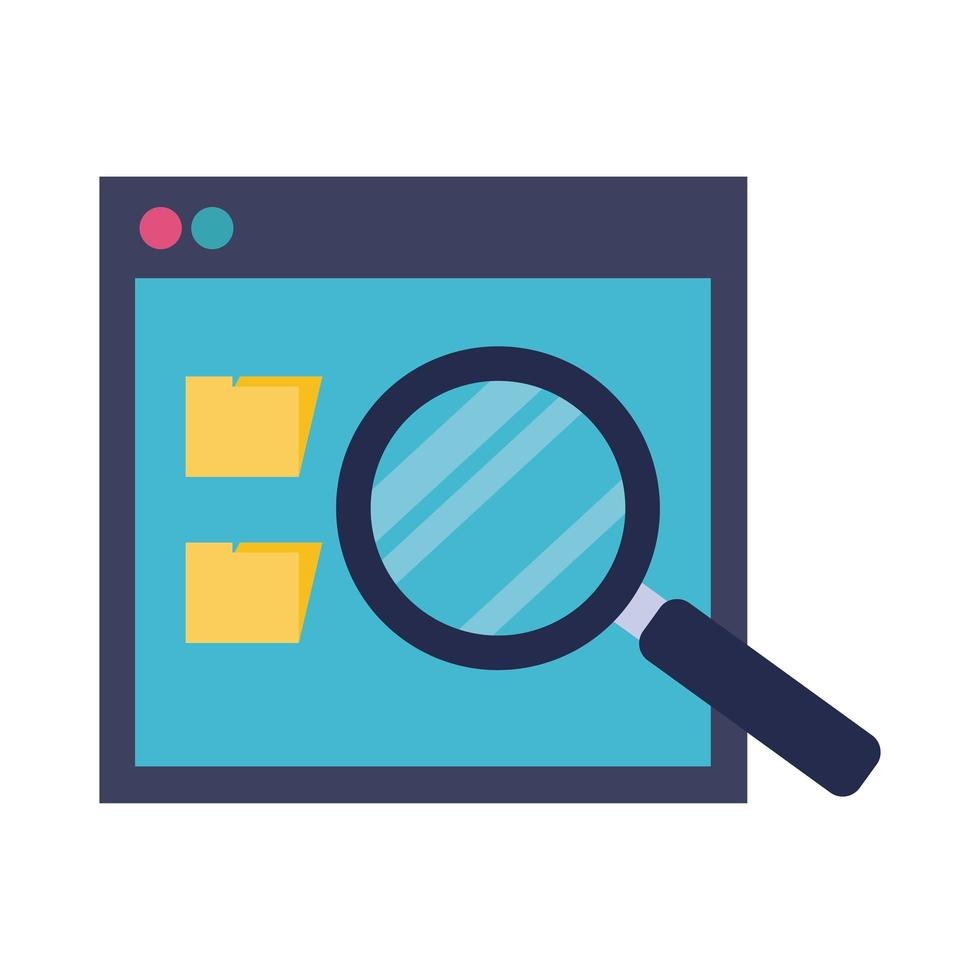 template webpage with magnifying glass flat style vector