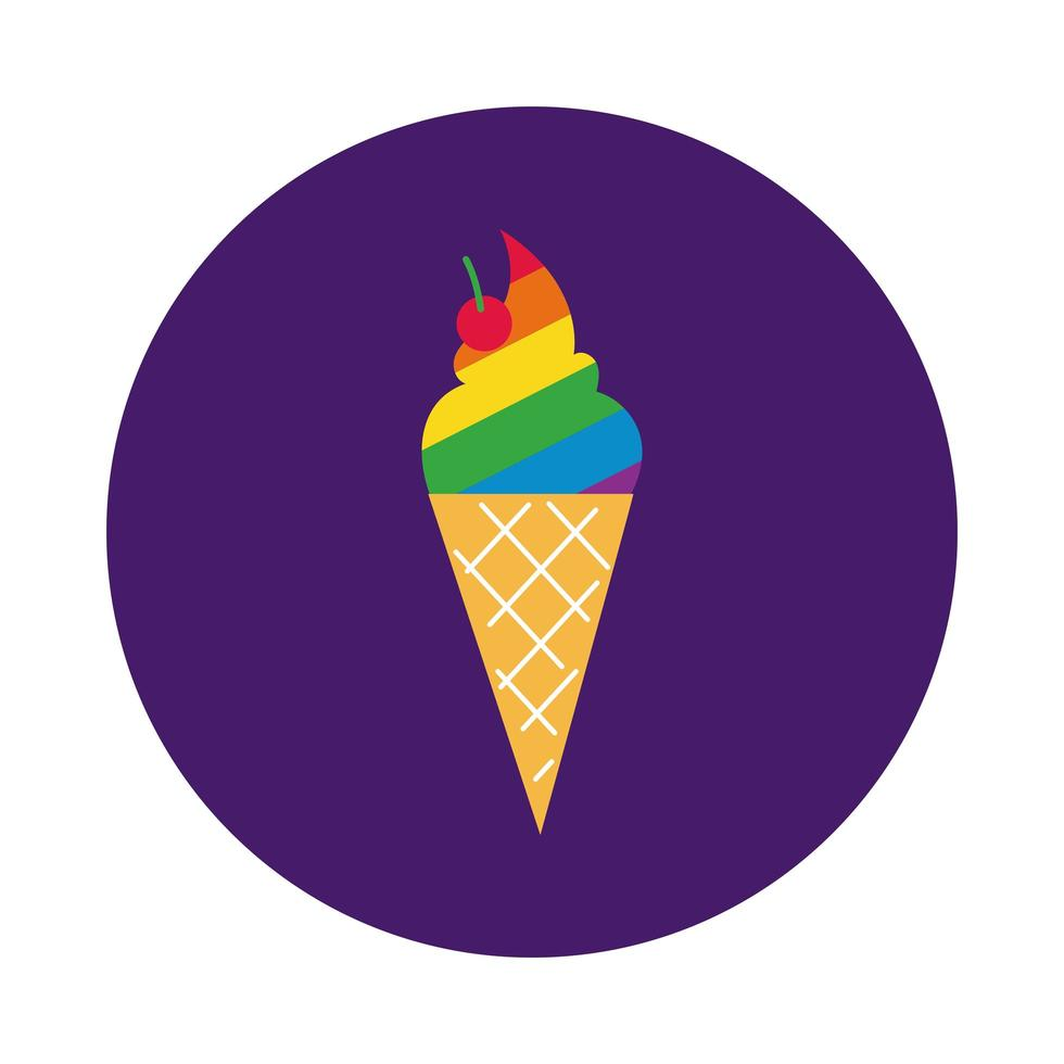 ice cream with gay pride colors block style vector