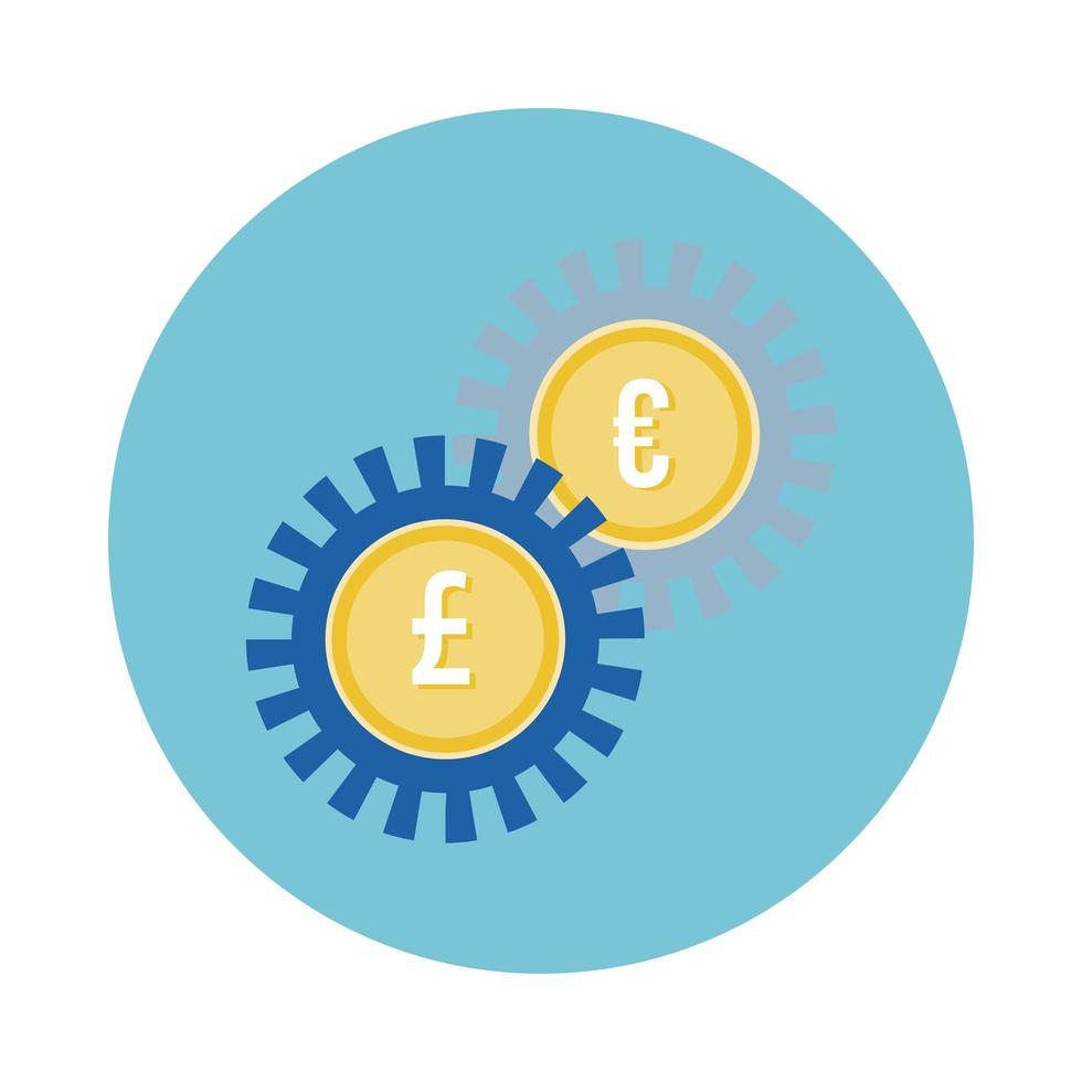 Euro and sterling pounds coins gears block style vector