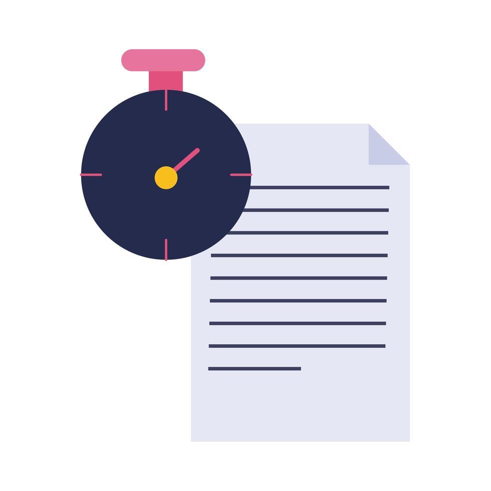 documento en papel con icono de estilo plano cronómetro vector