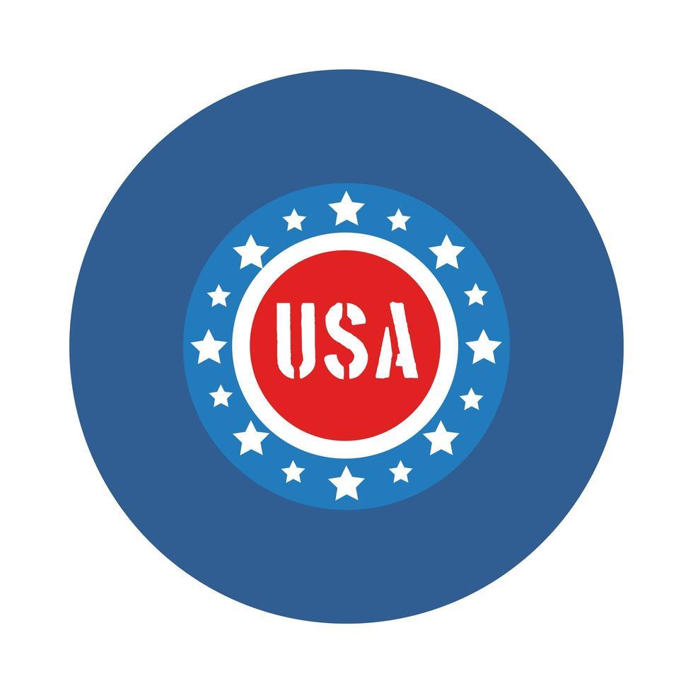 Sello con estrellas estilo bloque del día de la independencia de EE. UU. vector