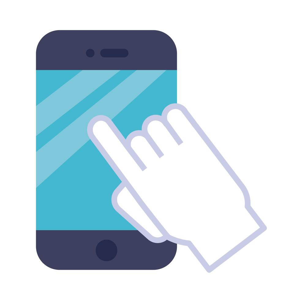 teléfono inteligente con icono de estilo plano de cursor mouse vector