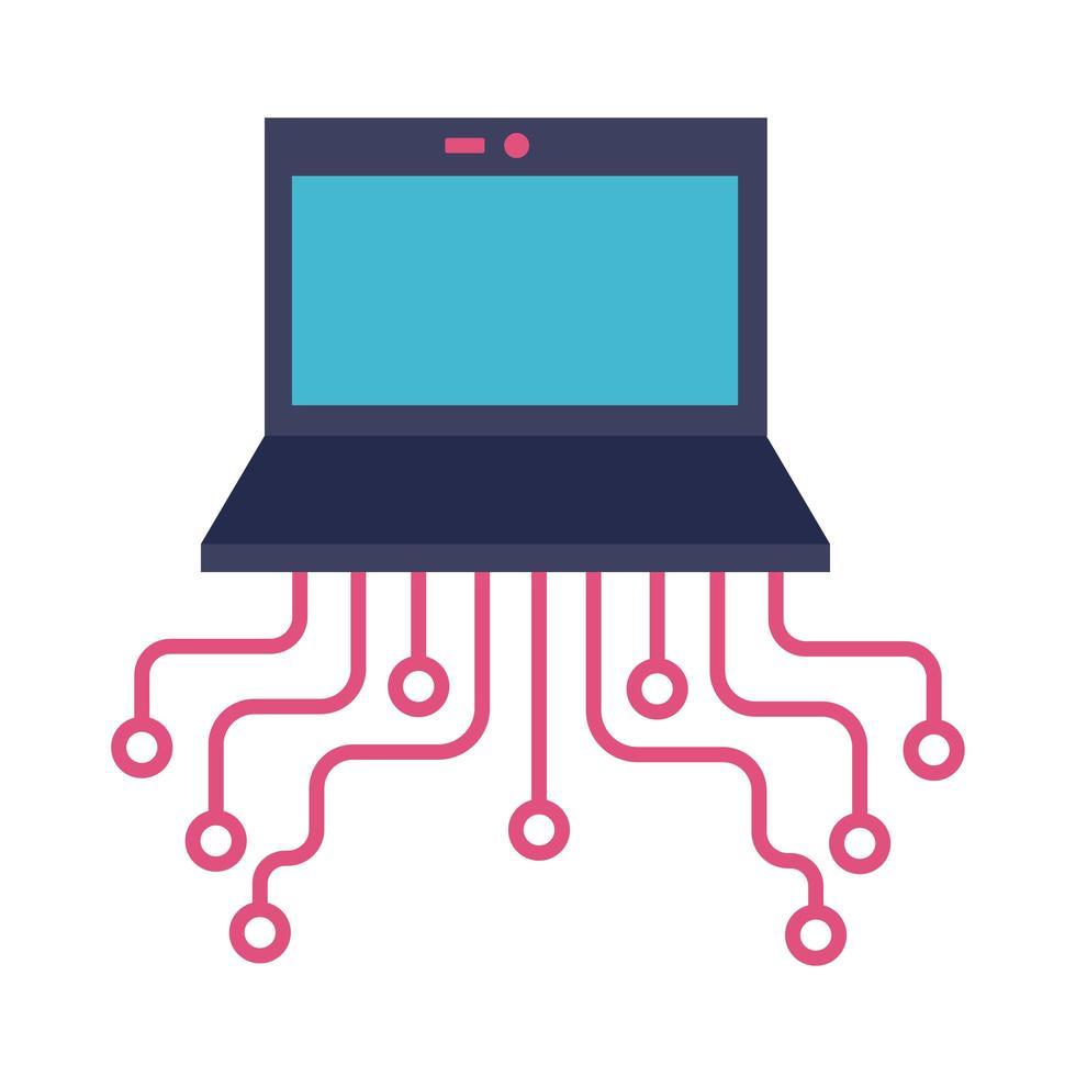 portátil con icono de estilo plano de circuito vector