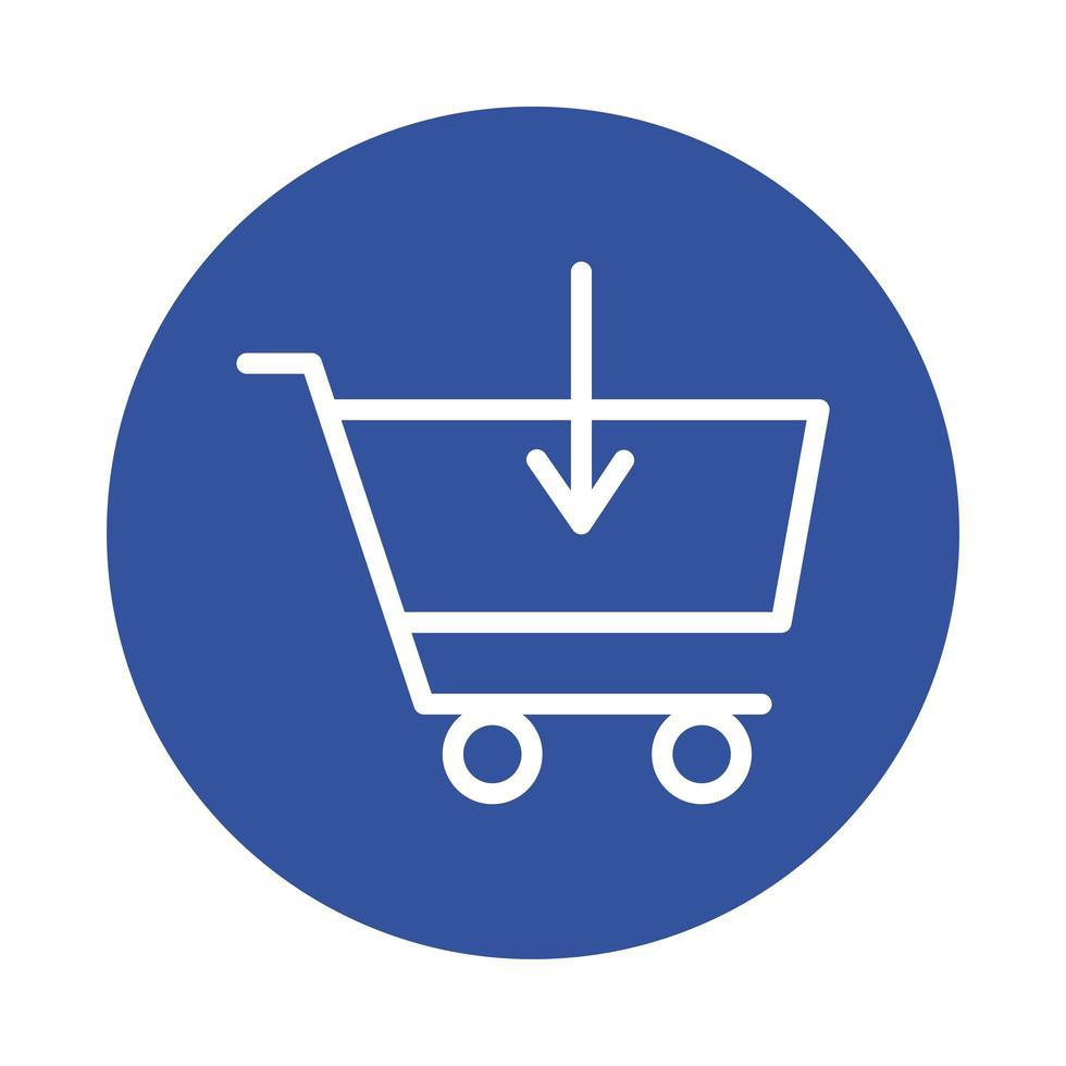mercado de carrito de compras con estilo de bloque de flecha hacia abajo vector