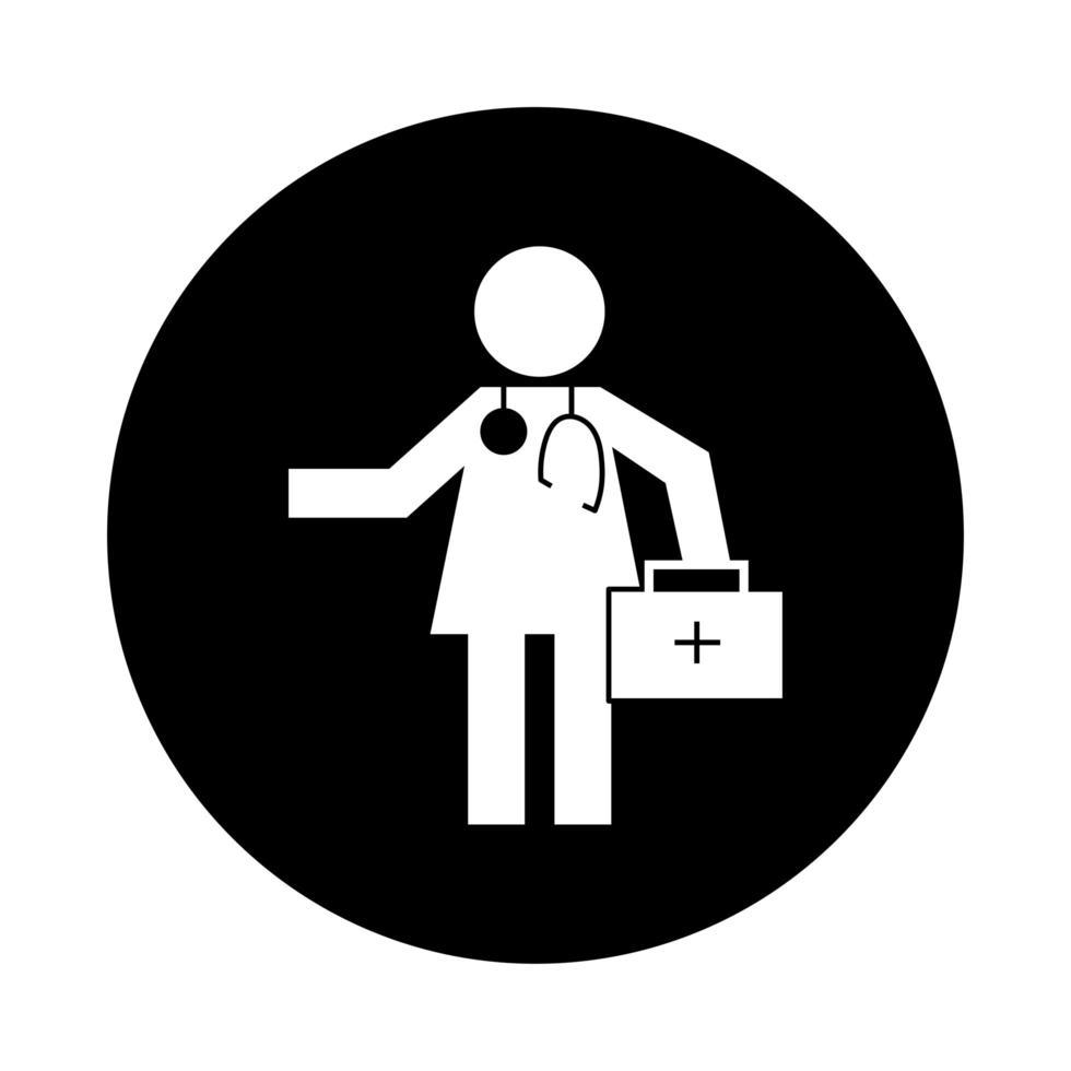 médico de figura humana con estilo de bloque de pictograma de salud de kit vector