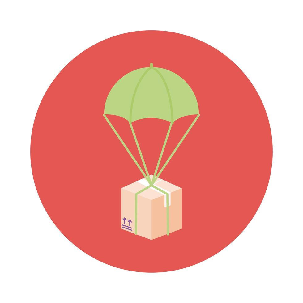 box in parachute delivery service block style vector